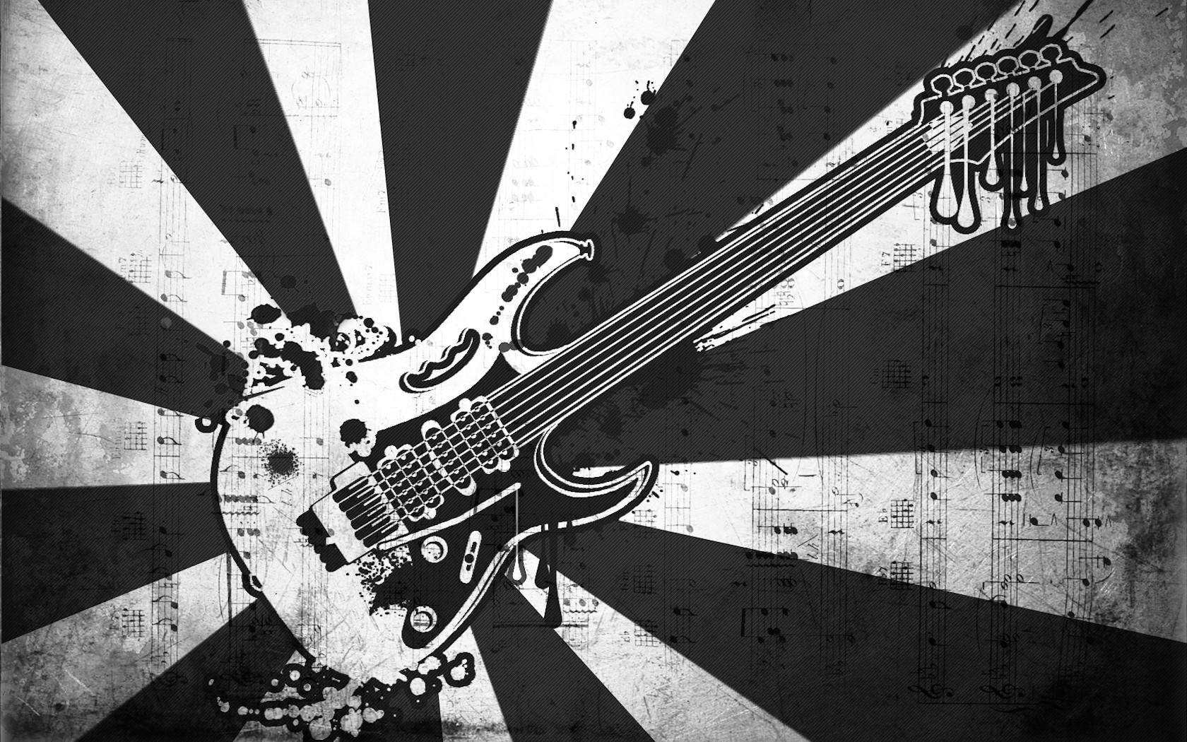 Black And White Guitar Wallpaper 1680x1050 px