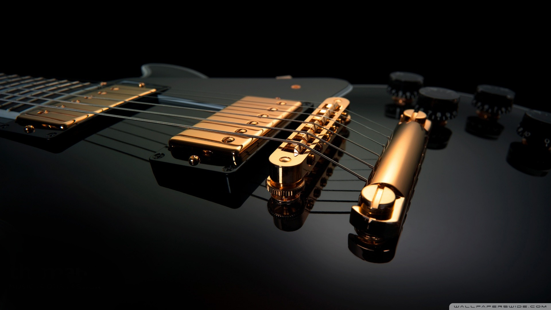 Black Guitar With Yellow Strings Wallpaper 1920x1080 px