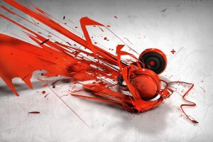 abstract orange hheadphones 1920x1200