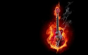 Electric Guitar On Flame
