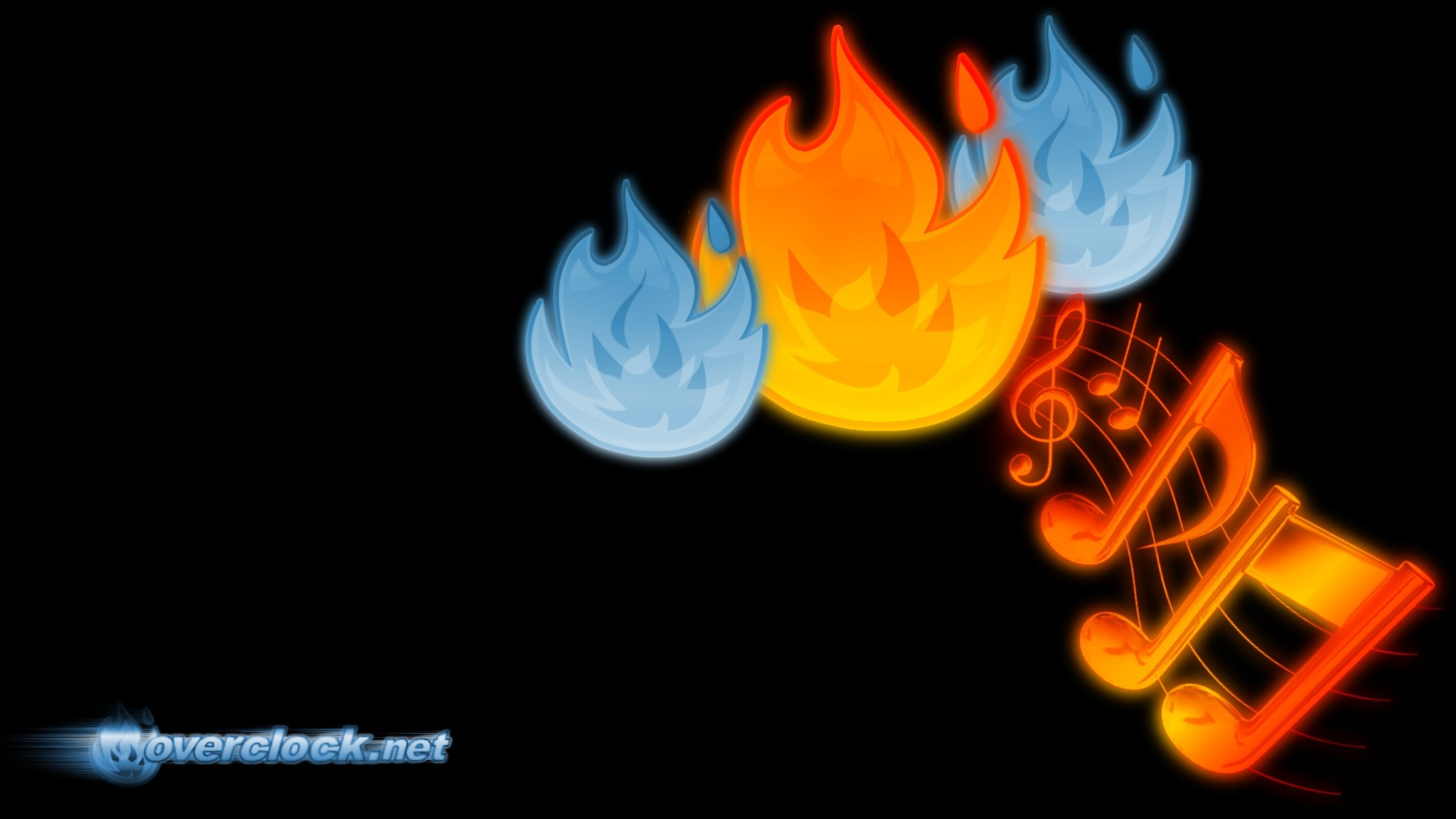Music Notes On Flame Wallpaper 2048x1152 px