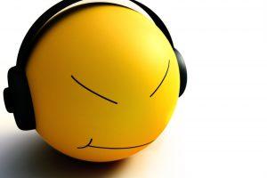 Yellow Smiley With Headphones